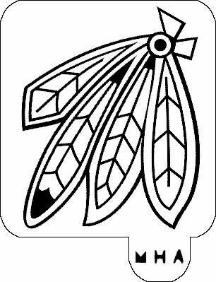 MR. HAIR ART STENCIL - CHICAGO BLACKHAWKS FEATHERS