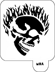 Mr. HAIR ART STENCIL - Flaming Skull