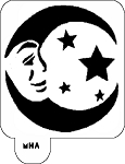 Mr. HAIR ART STENCIL - Moon Face Stars