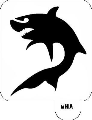 graphic regarding Shark Stencil Printable titled Shark 1 - Mr. HAIR Artwork STENCIL