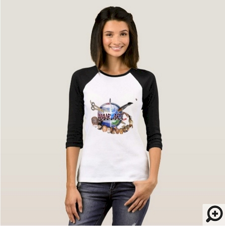 I HAIR ARTIST - LADIES HAIR ART WORLD 3/4 SLEEVE SHIRT
