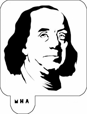 MR. HAIR ART STENCIL - BENJAMIN FRANKLIN