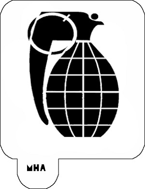 Mr. HAIR ART STENCIL - Hand Grenade