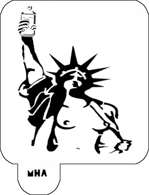 MR. HAIR ART STENCIL - STATUE OF LIBERTY NAKED