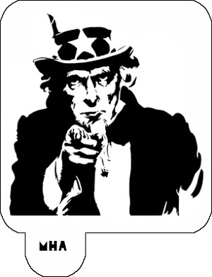 Hair Art Stencil - Uncle Sam