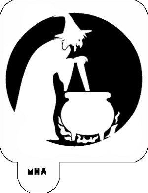 Hair Art Stencil - Witch and Kettle