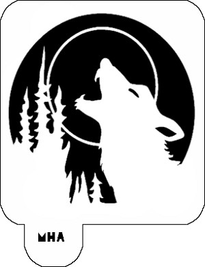 Hair Art Stencil - Wolf Howl